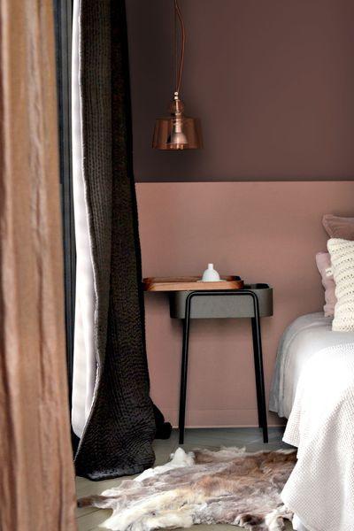 deco chambre brun rosé et cuivre