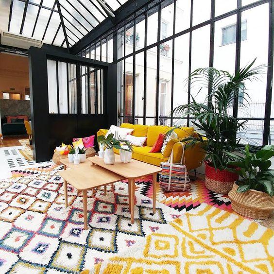 tapis motifs aztèques colorés