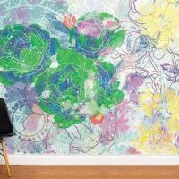 papier-peint-design-fleurs-experimentales-vert