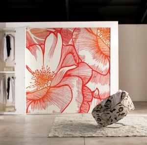 papier peint original design sur porte placard