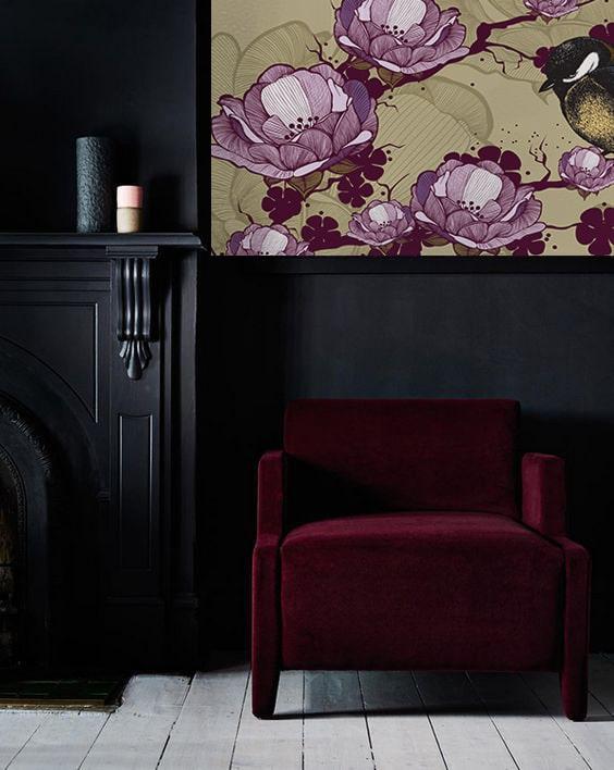 décoration couleur aubergine papier peint izoa