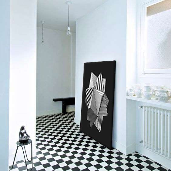 4 fa ons de poser son tableau sans percer son mur - Tableau design noir et blanc ...
