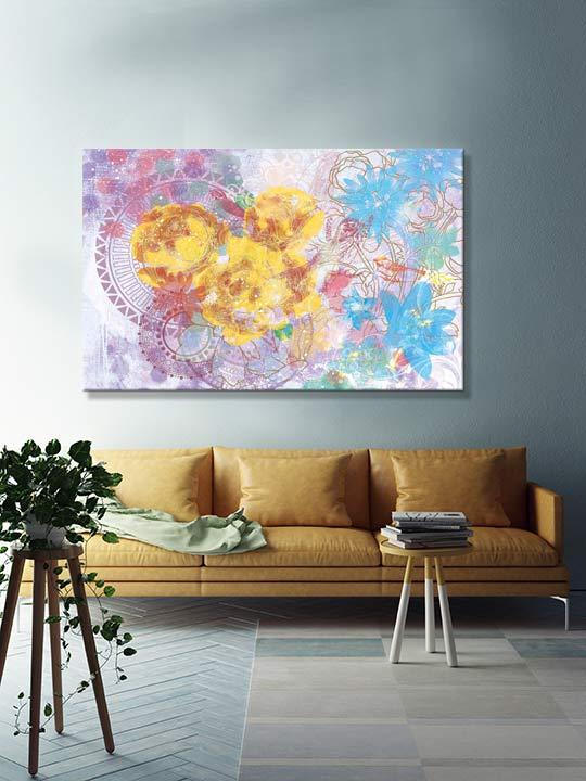 tableau-imprime-fleur-salon-design