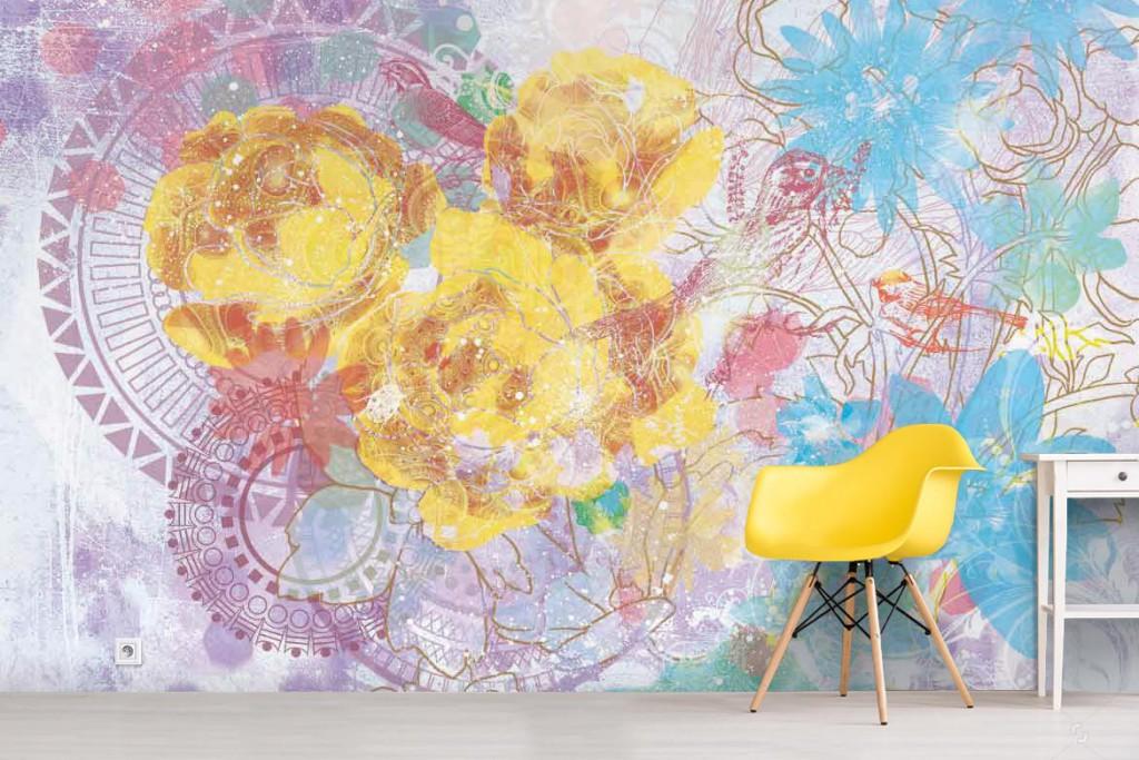 tapisserie-design-murale-fleurs-experimentales-jaune