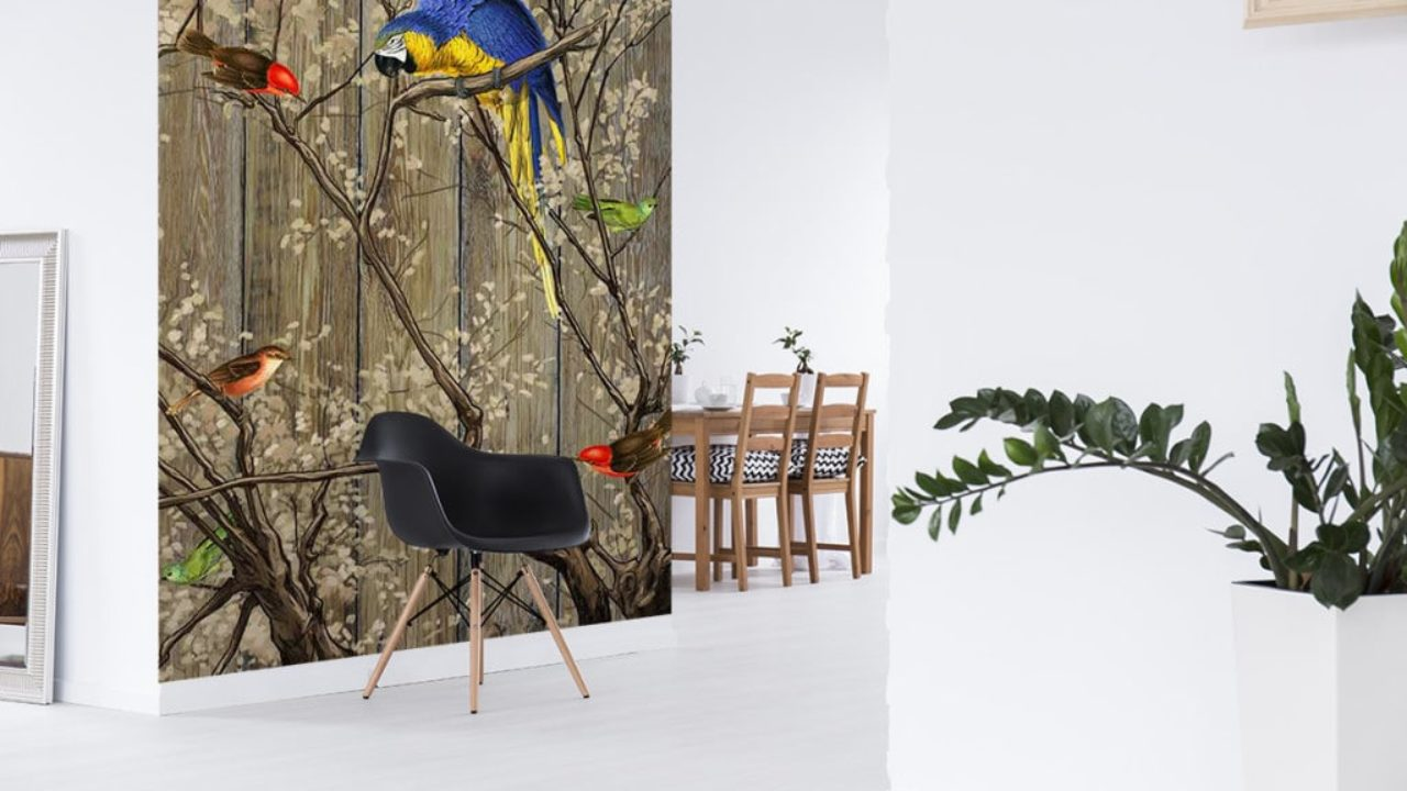 Deco Jungle Chambre Adulte nouveau tableau contemporain et papier peint bestiaire