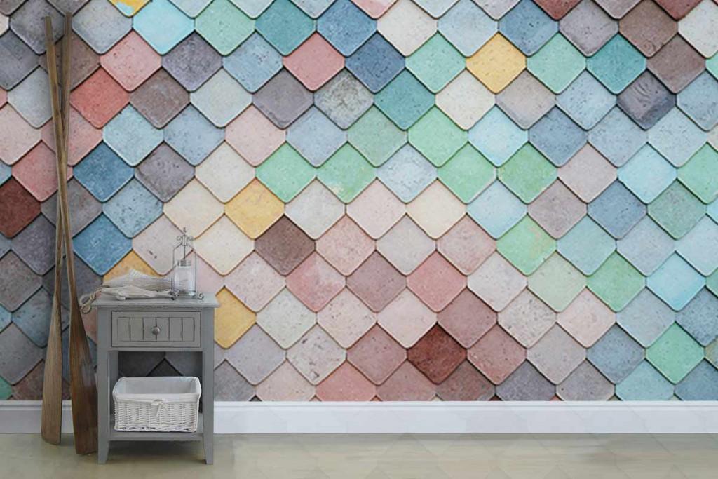 papier peint trompe l'oeil texture tuiles colorées