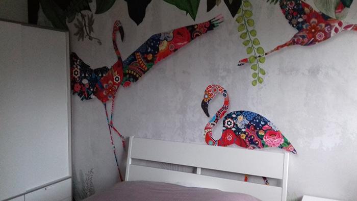 papier peint izoa flamenco patchwork posé chez client