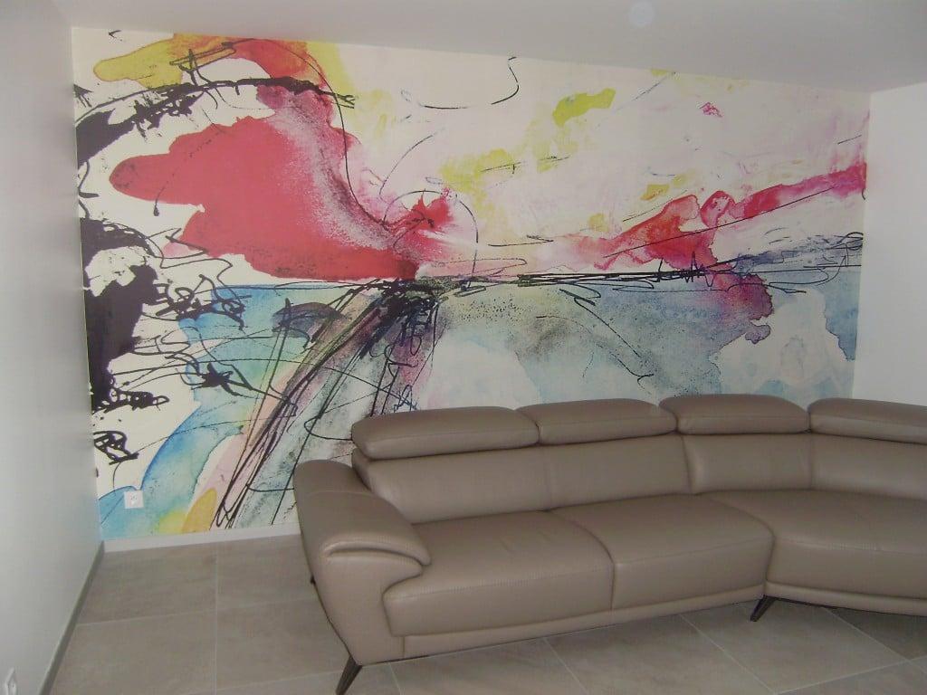 Papier peint abstrait Izoa posé chez Lydie L