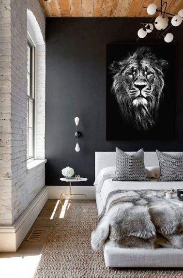 tableau lion noir et blanc izoa