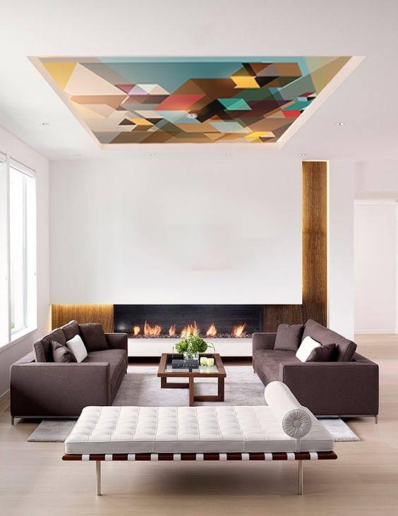 Du papier peint au plafond