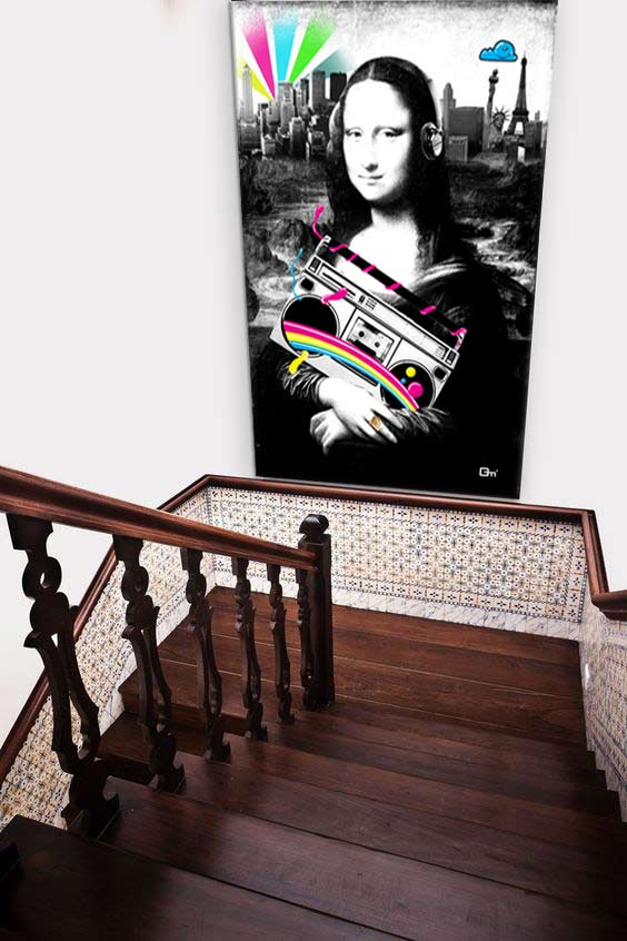 O poser un tableau grand format for Tableau pour cage escalier