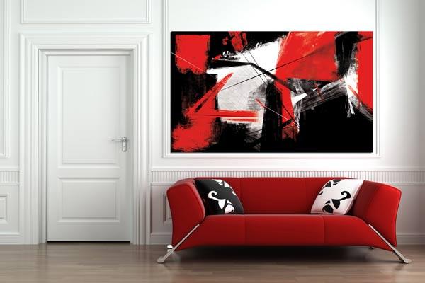 cadre mural rouge et noir coups de pinceuax