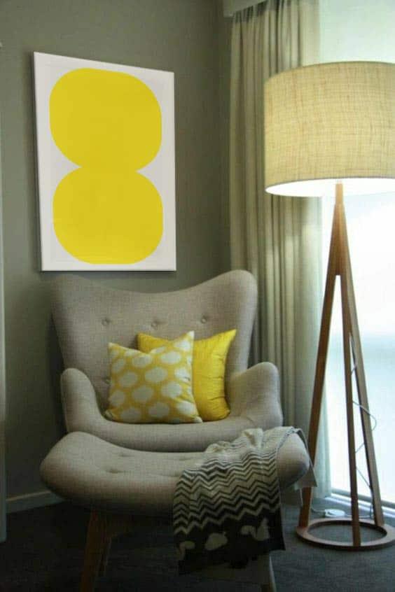 coin-lecture-tableau-abstrait-scandinave-jaune