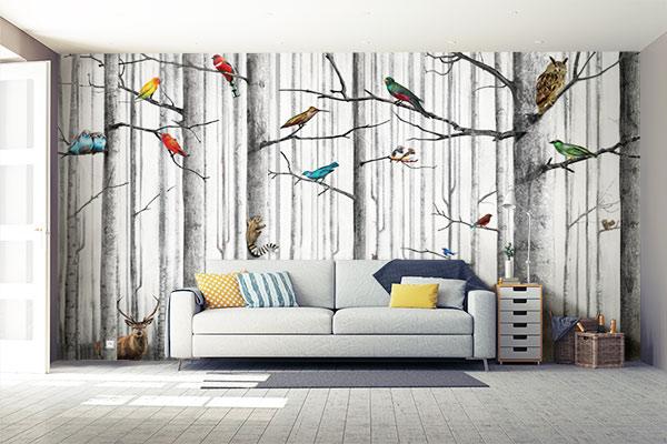 papier-peint-deco-salon-nature-foret-animaux
