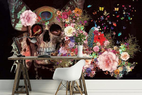 poster-mural-design-tete-de-mort-vintage