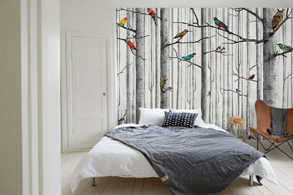 tapisserie-originale-chambre-foret-animaux