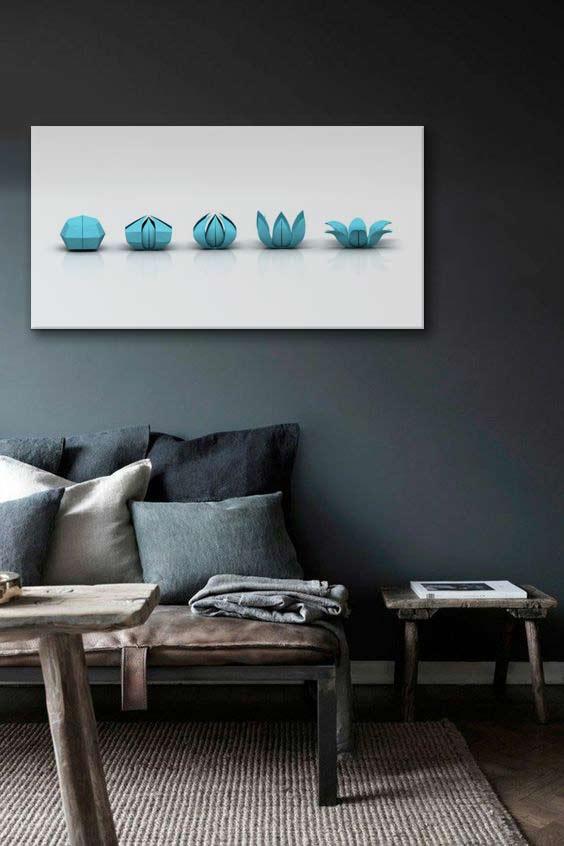 toile-déco-zen-turquoise-sur-mur-gris-fonce