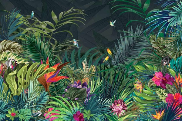 papier peint design et tableau d u00e9co jungle moderne
