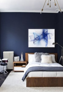 décoration chambre mur bleu