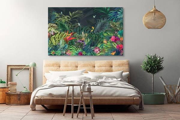 Décoration chambre moderne toile jungle moderne