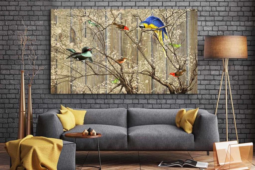 tableau déco original oiseaux