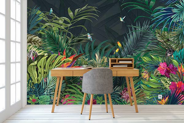papier peint design et tableau d co jungle moderne blog izoa. Black Bedroom Furniture Sets. Home Design Ideas