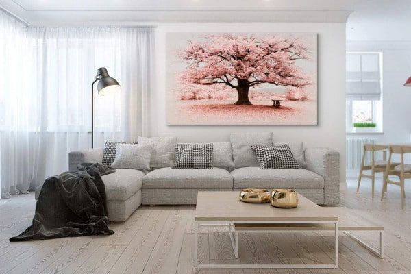 tableau-grand format-arbre-fleuri