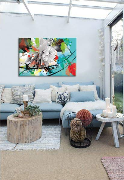 salon bleu pastel tableau moderne izoa