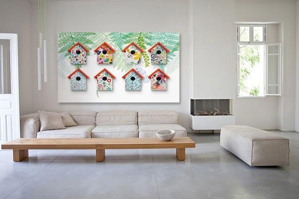 tableau toile-nichoirs-a-oiseaux
