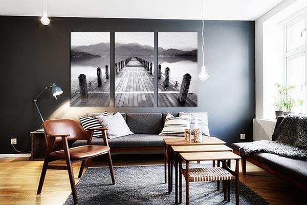 tableau trptyque paysage noir et blanc izoa