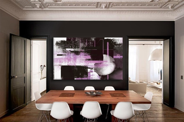 décoration salon moderne cadre abstrait rose