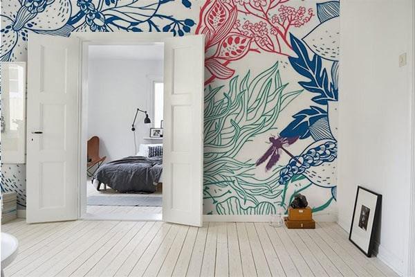 papier peint design motif fleur