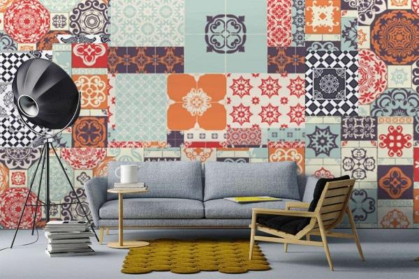 papier peint décoration murale patchwork izoa