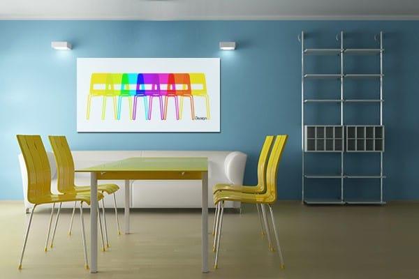 tableau design coloré chaises