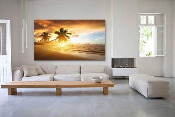 tableau XXL déco salon paysage palmiers
