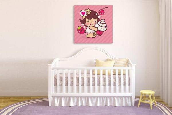 toile décoration chambre fille rose