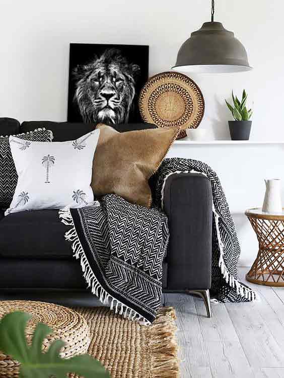 décoration salon ethnique tableau noir et blanc moderne