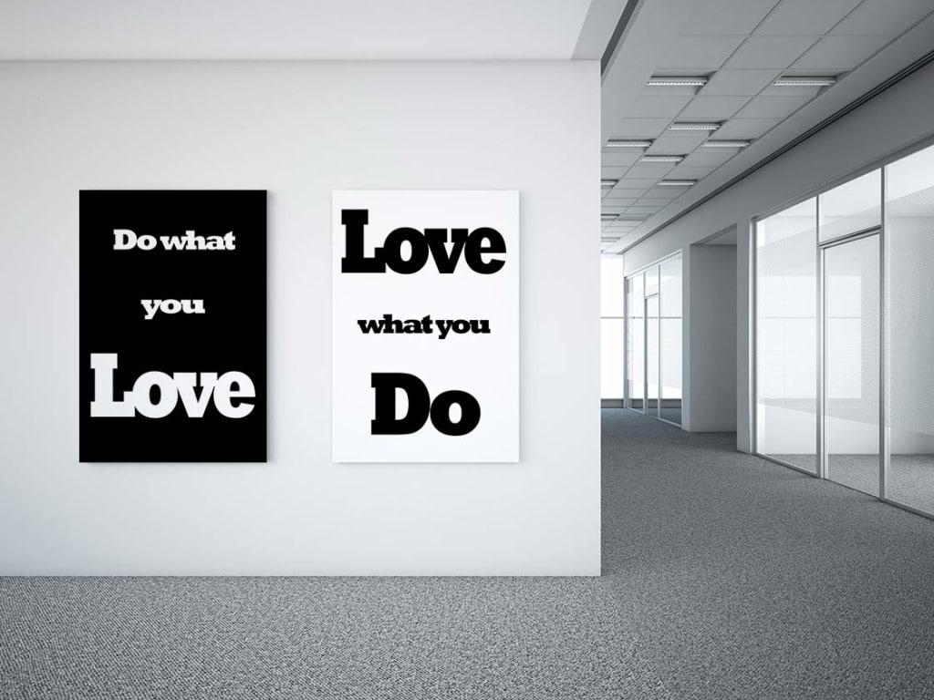 décoration bureaux entreprises diptyque noir et blanc message positif
