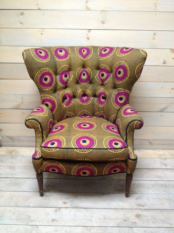 fauteuil original tissus wax africain