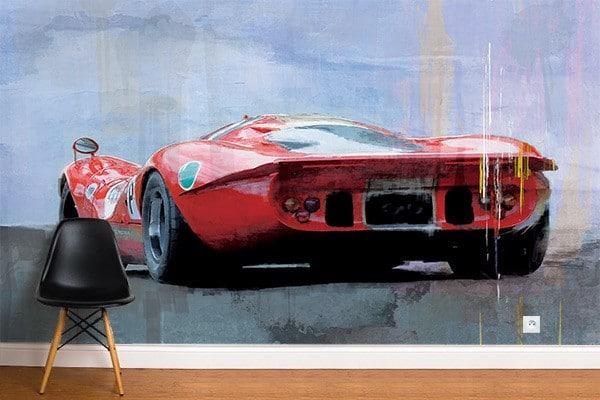 poster mural vintage déco rétro voiture rouge