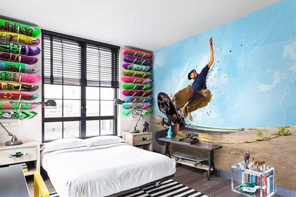 déco chambre ado papier peint moderne skate