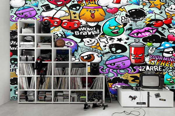 papier peint moderne graffiti déco chambre ado