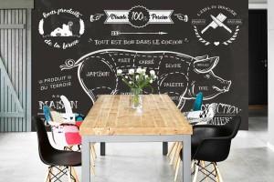 décoration cuisine papier peint style bistrot