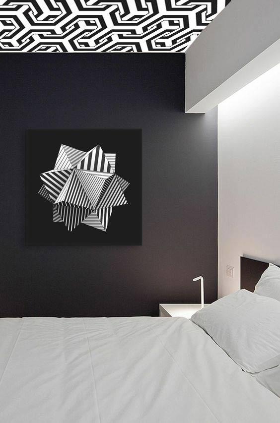 papier peint moderne noir et blanc Izoa