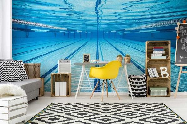 papier peint trompe l'oeil piscine