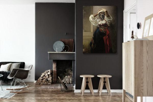tableau décoratif moderne femme lionne