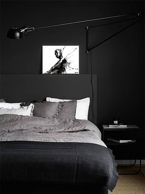 toile imprimée design pour chambre déco noir et blanc
