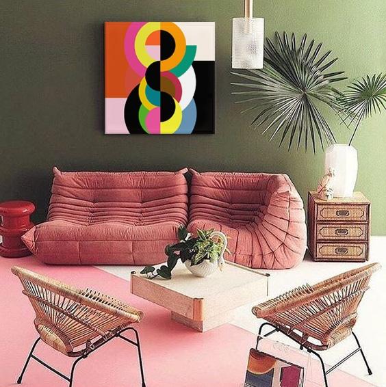 tableau vintage couleur pop izoa