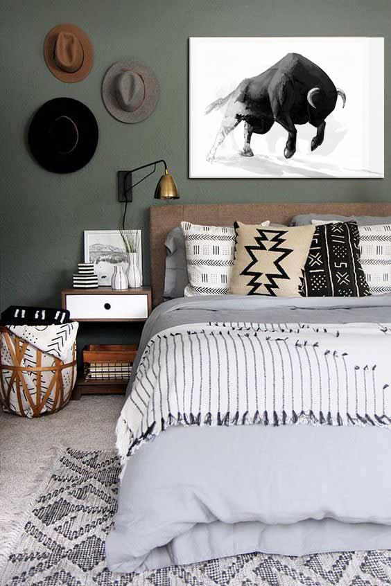 décoration chambre bohème noir et blanc