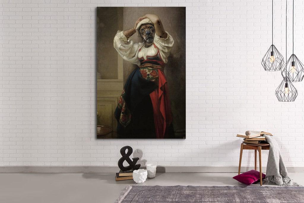 Toile imprimée originale design femme lionne
